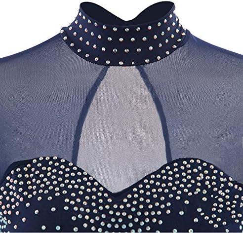 Handarbeit Rollschuhkleid Wettbewerb Kost/üm lang/ärmelige dunkelblaue Eislaufen Kleid Klassische Art Eiskunstlauf Kleid f/ür Frauen und M/ädchen