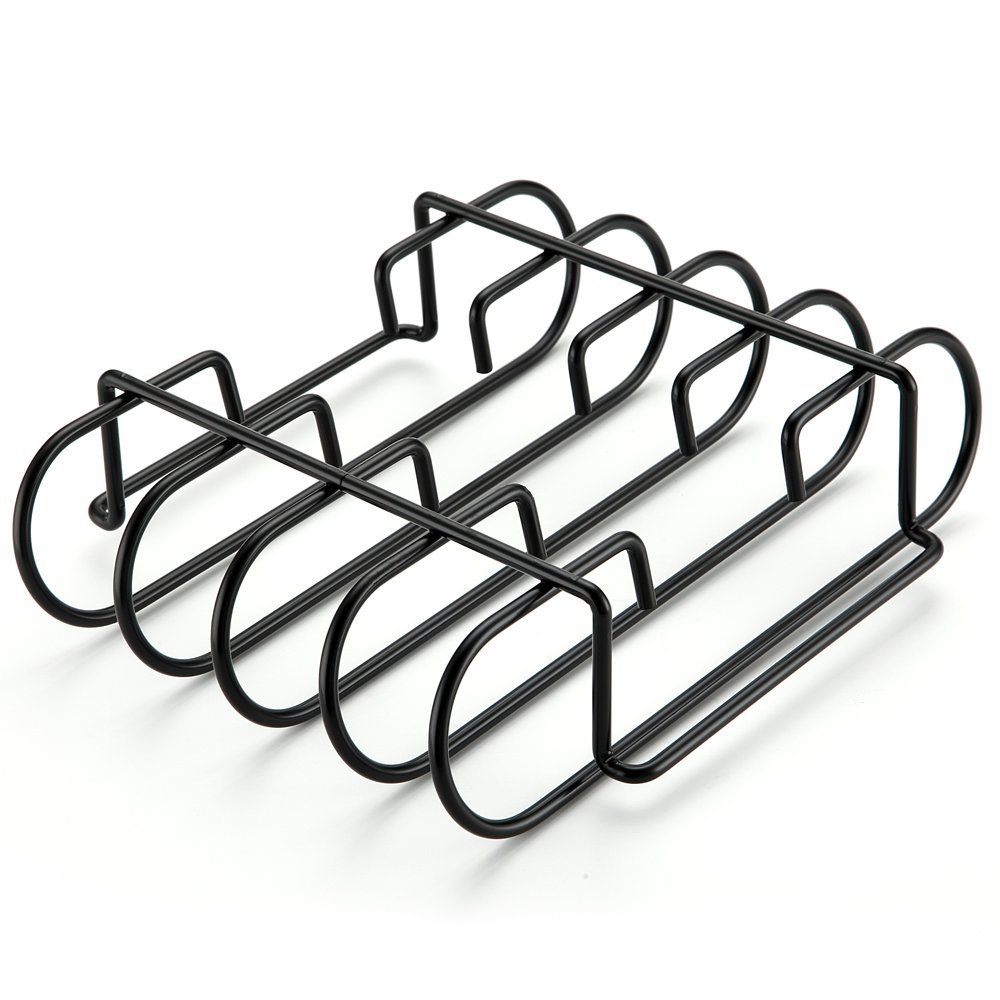 BBQration 812-9236-S Non-Stick Rib Rack – Porcelain Rib Rack For Weber, Charbroil, Kenmore, Master Forge, Brinkmann, Big Green Egg, Primo and Kamado Ceramic, Green Mountain Grill.