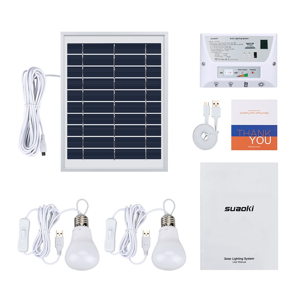 SUAOKI Solar Lighting System Portable Home Light Kit with Solar ...