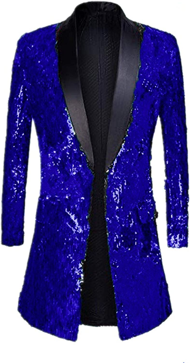 Suxiaoxi Men's Vintage Sequins Gothic Tailcoat Jacket Steampunk Halloween Costume