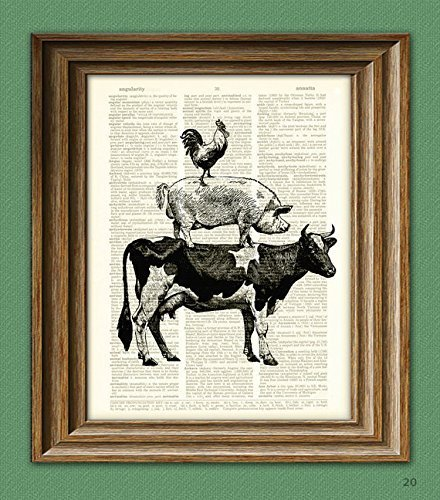 Print Pig - COW, PIG, and ROOSTER stack illustration beautifully upcycled dictionary page book art print