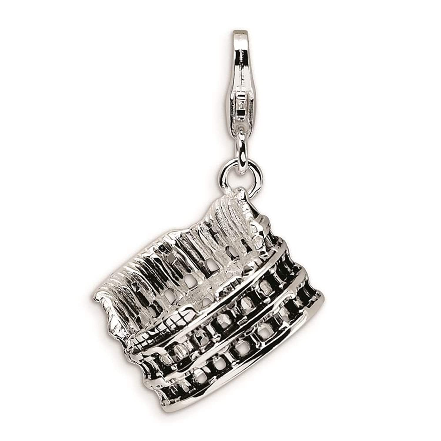 925 Sterling Silver 3-D Antiqued Colliseum w/ Lobster Clasp Charm - Amore La Vita Collection