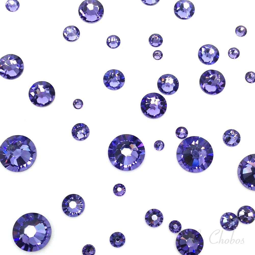 TANZANITE (539) purple violet 144 pcs Swarovski 2058/2088 Crystal Flatbacks purple rhinestones nail art mixed with Sizes ss5, ss7, ss9, ss12, ss16, ss20, ss30