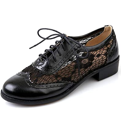 40f9c4fc582 Womens Lace Mid Heel Oxfords Loafers Lace-up Pointd Toe Vintage Handmade  Dress Loafer Shoes