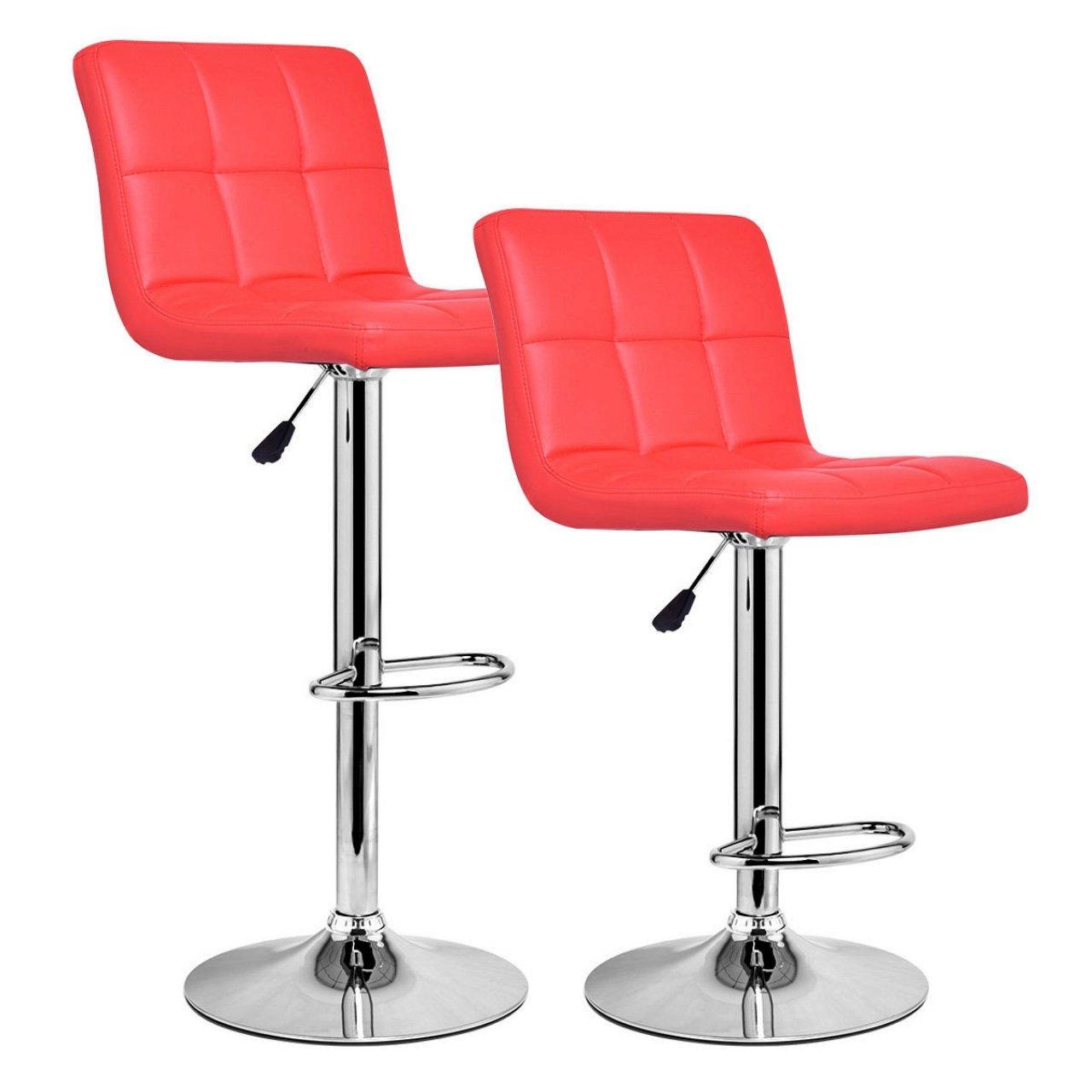 Set Of 2 Bar Stools Anti-aging PU Leather Adjustable Barstool 360 Degree Swivel Pub Style Comfortable Backrest/Red #827