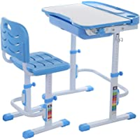 Kids Desk and Chair Set, Height Adjustable Children School Study Desk with Tilt Desktop, Pull Out Drawer Storage, Interactive Workstation for Boys Girls (from US, Blue)