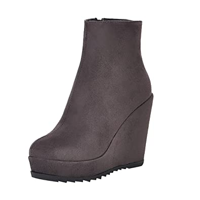 fd6fa90aa38a16 UH Damen Keilabsatz Plateau Stiefeletten High Heels Ankle Boots mit Fell  und Reißverschluss Warm Bequeme Schuhe