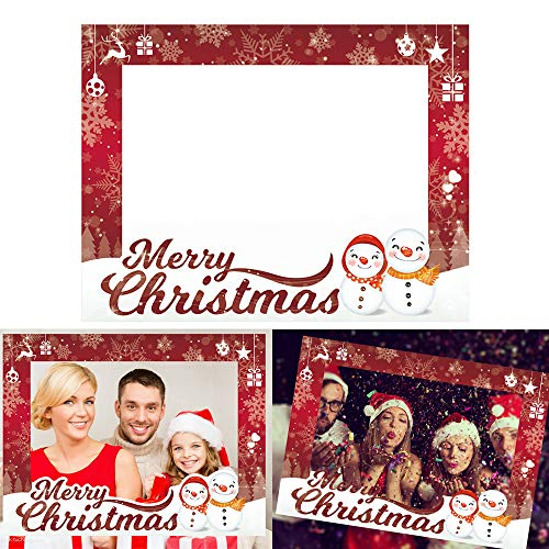 CQI Christmas Party Supplies Photo Booth Picture Frame - Happy Holidays Christmas Decoration DIY Booth Prop