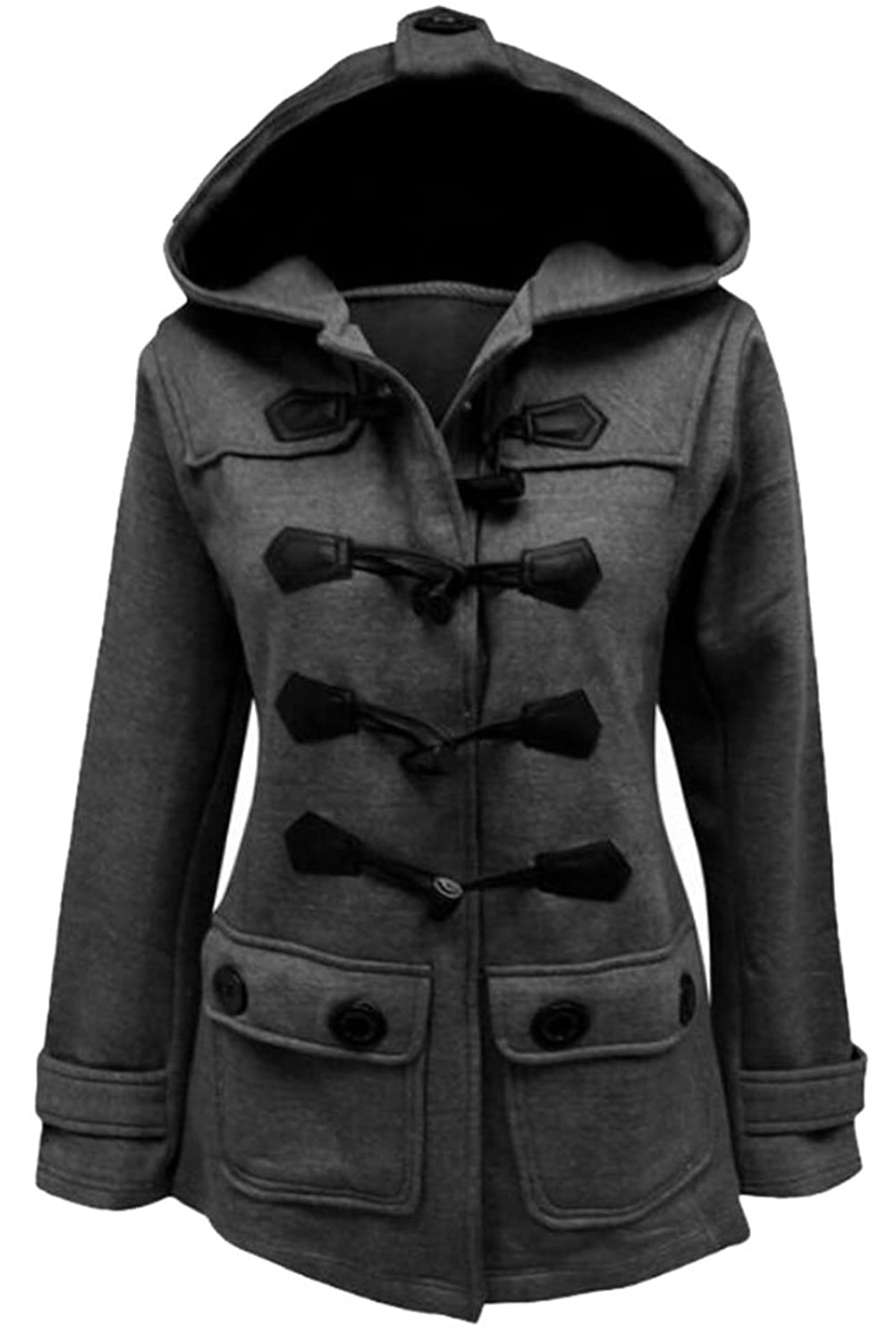 ARRIVE GUIDE Womens Casual Loose Button Hooded Thicked Trench Jacket Coat