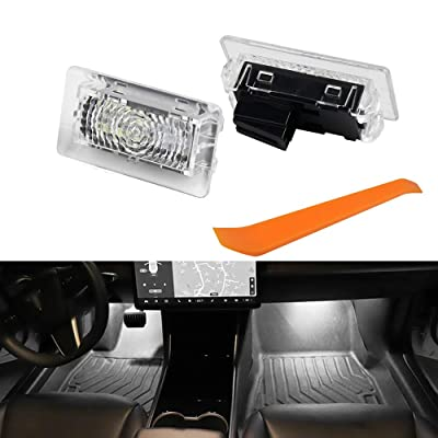 LECART Car Interior LED Car Door Light Upgrade Lighting Replacement Ultra-bright Easy-Plug with Prying Tool Compatible Kit Glitter Lamp for Tesla Model 3 Model S Model X Light Bulbs (White 2PCS): Automotive