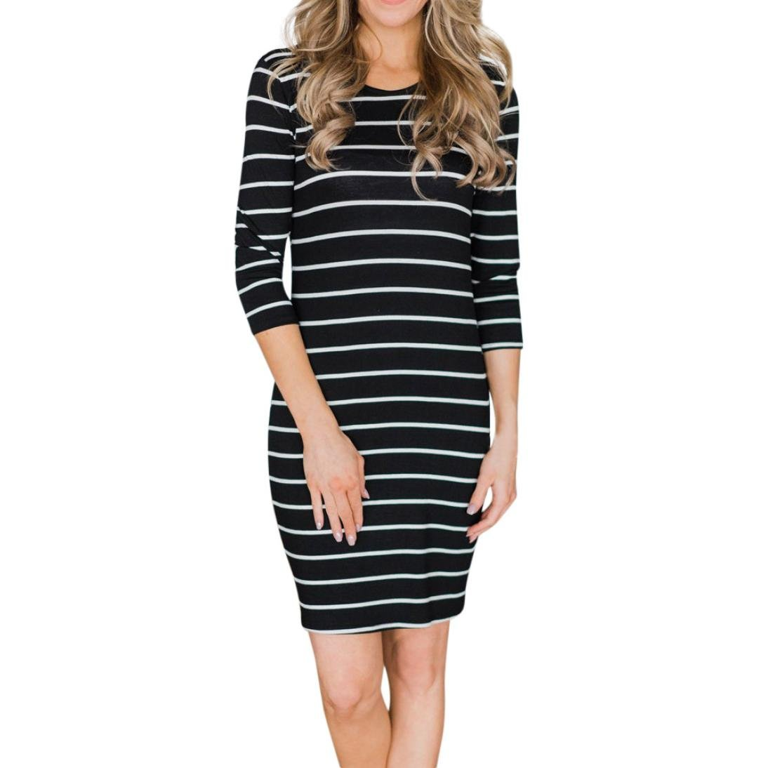 Spbamboo Women Ladies Casual Striped Hot Round Neck Half Sleeve Dress Mini Dress by Spbamboo