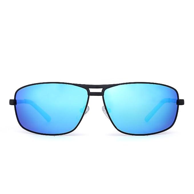Gafas de Sol Rectangulares Polarizadas Aviador Bisagras de Resorte Conducir Anteojos Hombre Mujer(Negro/