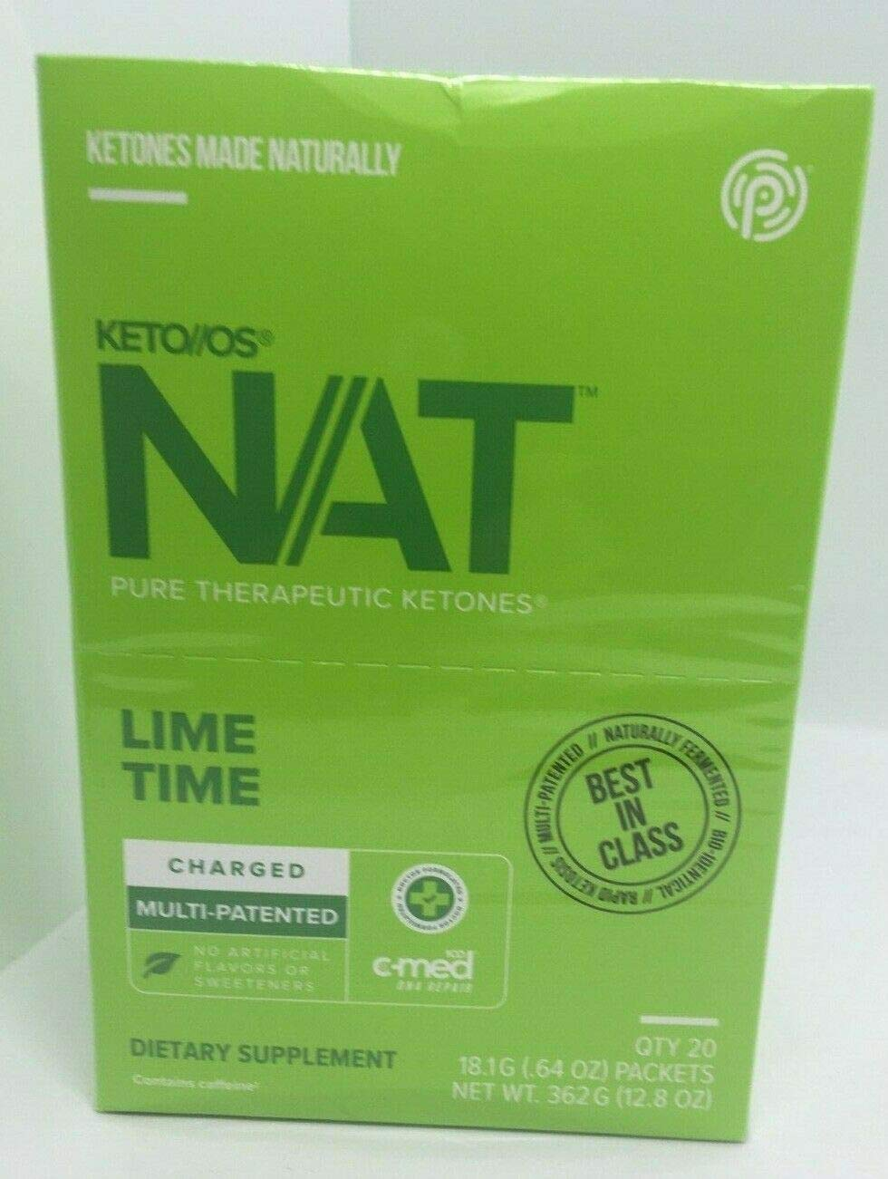 Pruvit Keto OS NAT CHARGED, BHB Salts Ketogenic Supplement – Beta Hydroxybutyrates Exogenous Ketones for Fat Loss, Workout Energy Boost Through Fast Ketosis. 20 Sachets Lime Time