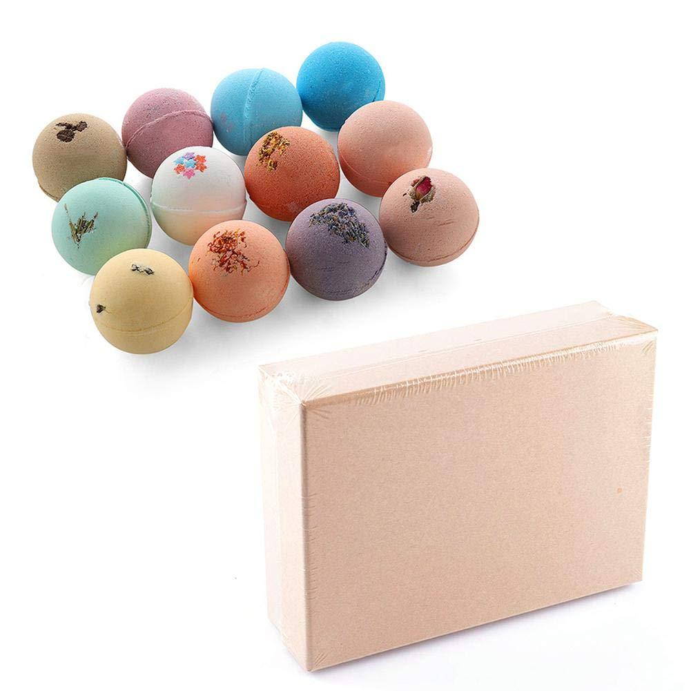 60g 12 PCS Bath Salt Ball Bubble Bathing Ball with Pleasant Flavor Skin Moisturizing Soften Cuticle Relieve Fatigue
