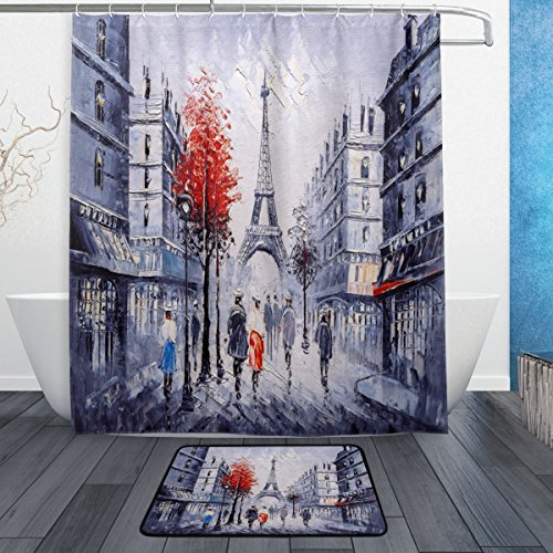 (Oil Painting Street View of French Paris Eifffel Tower Waterproof Polyester Fabric Shower Curtain (60