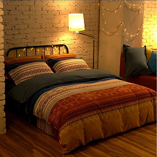 LELVA Bohemian Style Bedding Set, Boho Style Bedding Set, Boho Duvet Cover Set, Rustic Bedding Sets