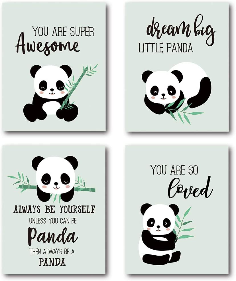 XUWELL Inspirational Quotes Cute Panda Wall Art Prints, Girls Boys Gifts for Nursery Kids Bedroom Classroom Decor, 8 x 10 Inch Unframed Set of 4 Prints
