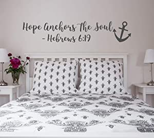 BYRON HOYLE Hope Anchors The Soul Wall Decal - Hebrews 6 19 Vinyl Wall Decal Bedroom Decor - Scripture Wall Decal - Anchor Wall Decal Bible Verse #122