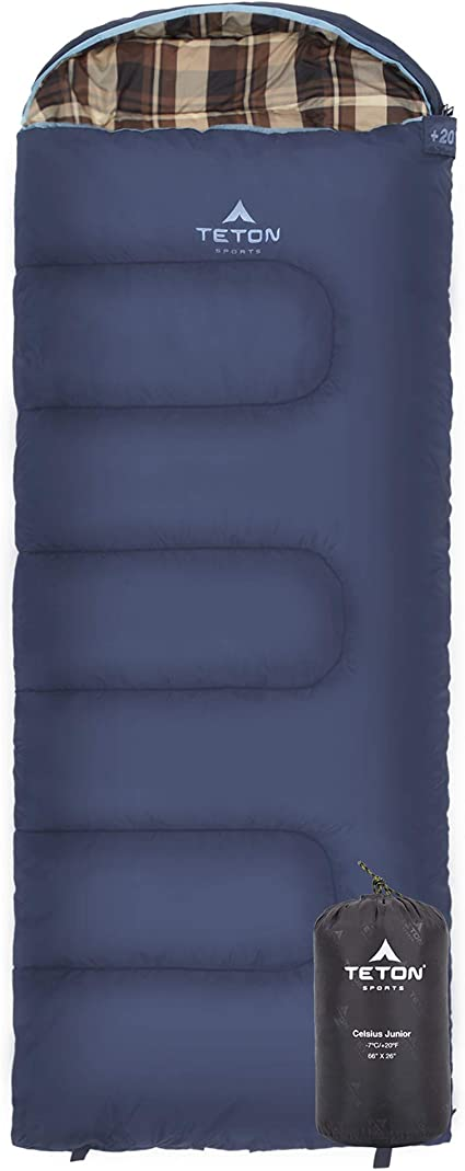 Teton Sports Unisexs 18 Degree C Flannel Lined Left Zip Teton Sports-18 Sleeping Bag-Blue