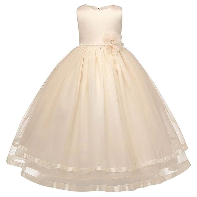 FEOYA Vestido de Fiesta de Verano para Niñas sin Mangas Transppirable Vestido de Princesa con Lazo