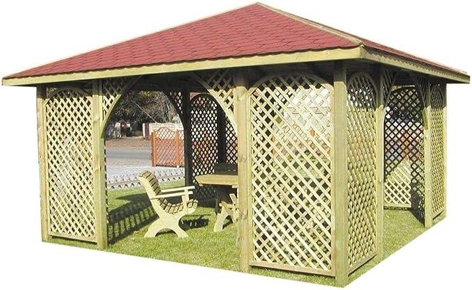 Pavilon - Pavillón de madera para jardín (con tejado de madera, 4 m x 4 m, exterior 4, 45 m, con teja): Amazon.es: Jardín