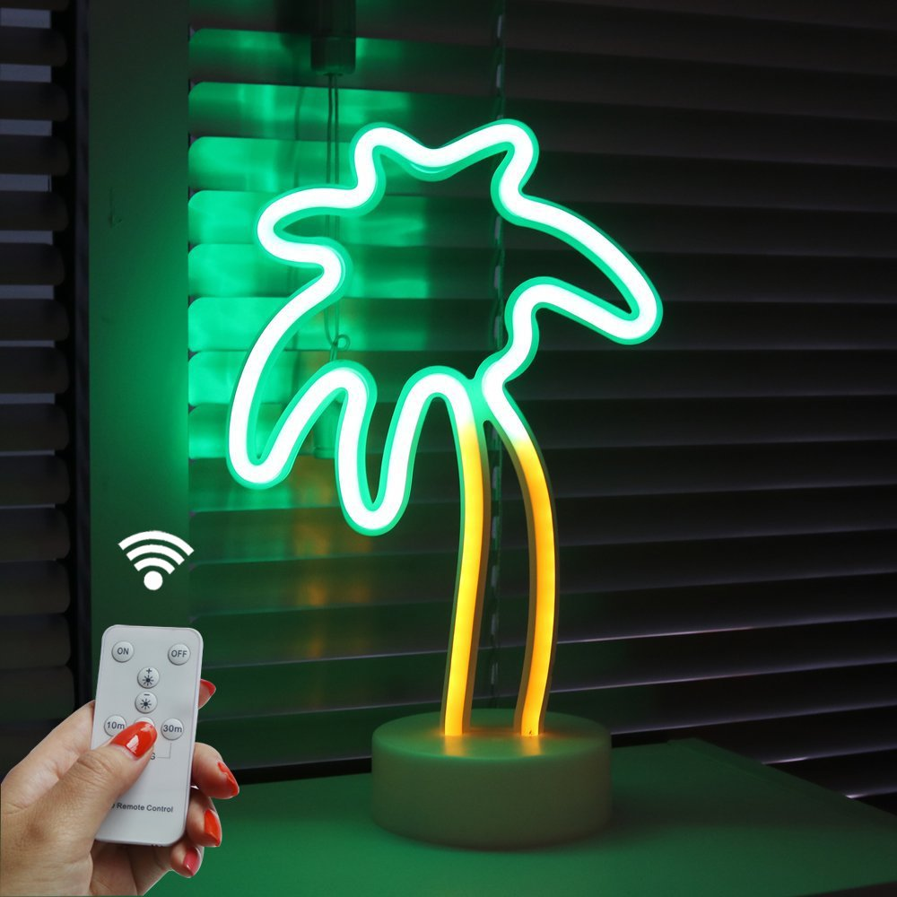 Coconut Palm tree Neon Signs, LED Remote Control Neon Light with Holder Base for Party Supplies Girls Room Decoration Accessory for Luau Summer Party Children Kids Gifts (RC Palm with holder)