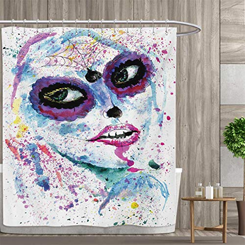smallfly Girls Bathroom Set with Hooks Grunge Halloween Lady with Sugar Skull Make up Creepy Dead Face Gothic Woman Artsy Shower Curtain Customized 72