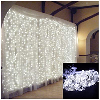 Leadmall Window Curtain String Lights | 300 LEDs USB Powered Copper Wire Fairy Light | 4 Music Control Modes 8 Lighting Modes Twinkle Lights for Bedroom Outdoor Indoor Wall Decorations (White): Sports & Outdoors