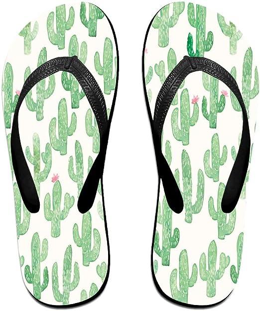 Tailing Flip Flops Green Cacti Pattern Unisex Trendy Print Slippers Beach Sandal