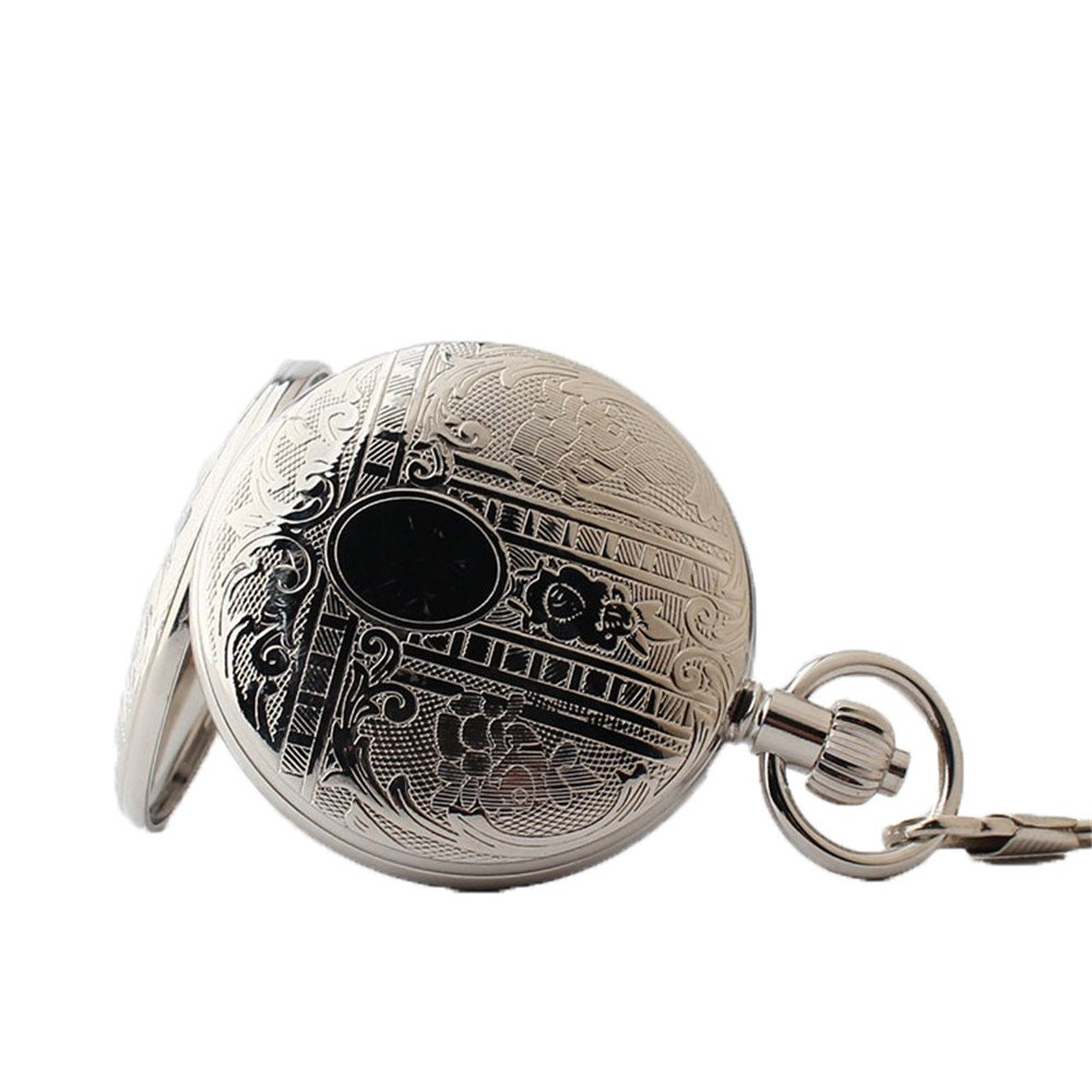 Zxcvlina Classic Smooth Mechanical Pocket Watch Boutique Silvery Retro Carved Unisex Pocket Watch with Chain for Gift Suitable for Gift Giving by Zxcvlina (Image #3)
