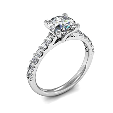 db829d3165cf7 ABELINI 18K White Gold Certified I1 HI 100% Natural Round Diamond Solitaire  Engagement Rings(Available in 0.50   1.00CT)  Amazon.co.uk  Jewellery