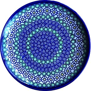 Lidia's Polish Pottery Daisy Polish Pottery Lunch/Dessert Plate Ceramika Kalich, 7.5 in, Green