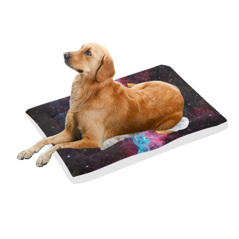 42\ your-fantasia Space Nebula Universe Cat Eat Pizza Pet Bed Dog Bed Pet Pad 42 x 26 inches