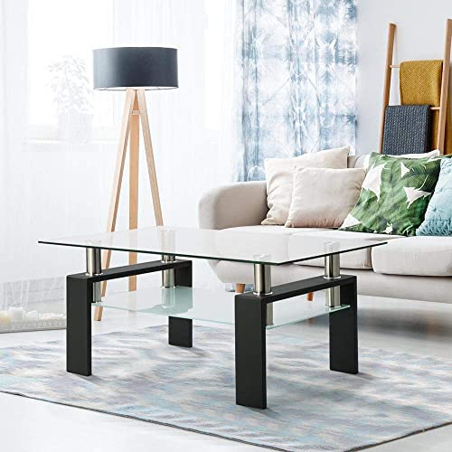Goujxcy Rectangle Glass Coffee Table for Living Room, Clear Coffee Table Tea Table Center Table Modern Side Coffee Table with 2 Tier Tempered Glass Boards Sturdy Metal Legs