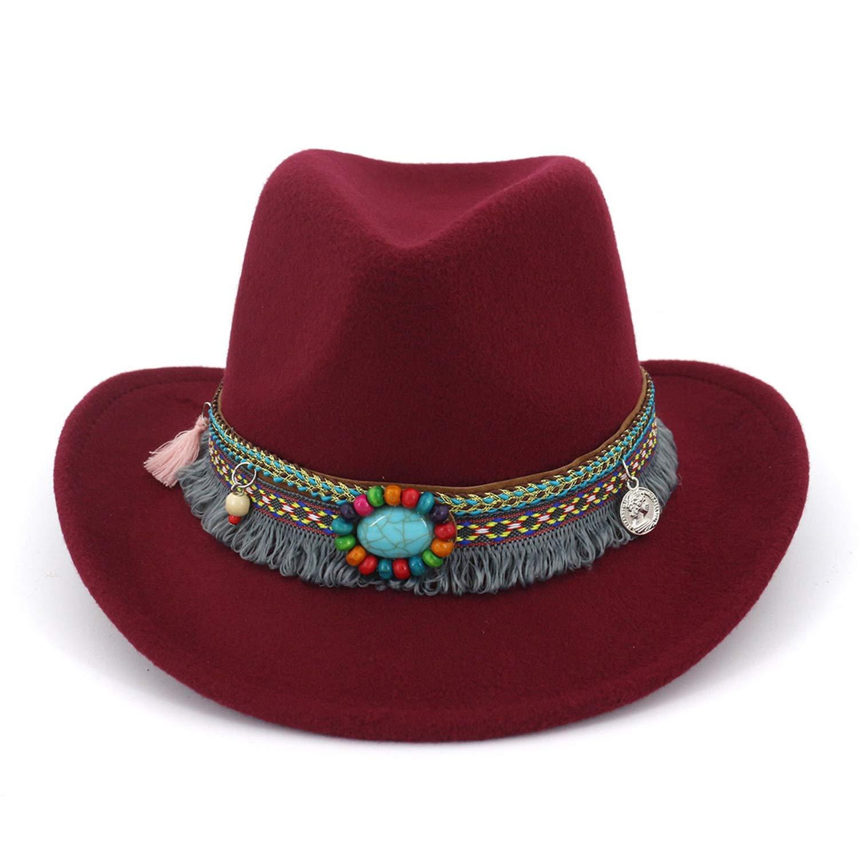 Wine Mageed Anna Women's Western Cowboy Hat for Men Jazz Cowgirl Tissue Bohemian Cloche Church Sombrero Caps