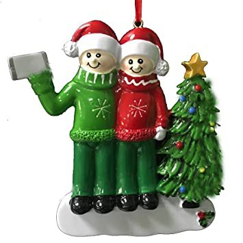 selfie couple ornament personalizecouples christmas ornamentsfree pen with gift box