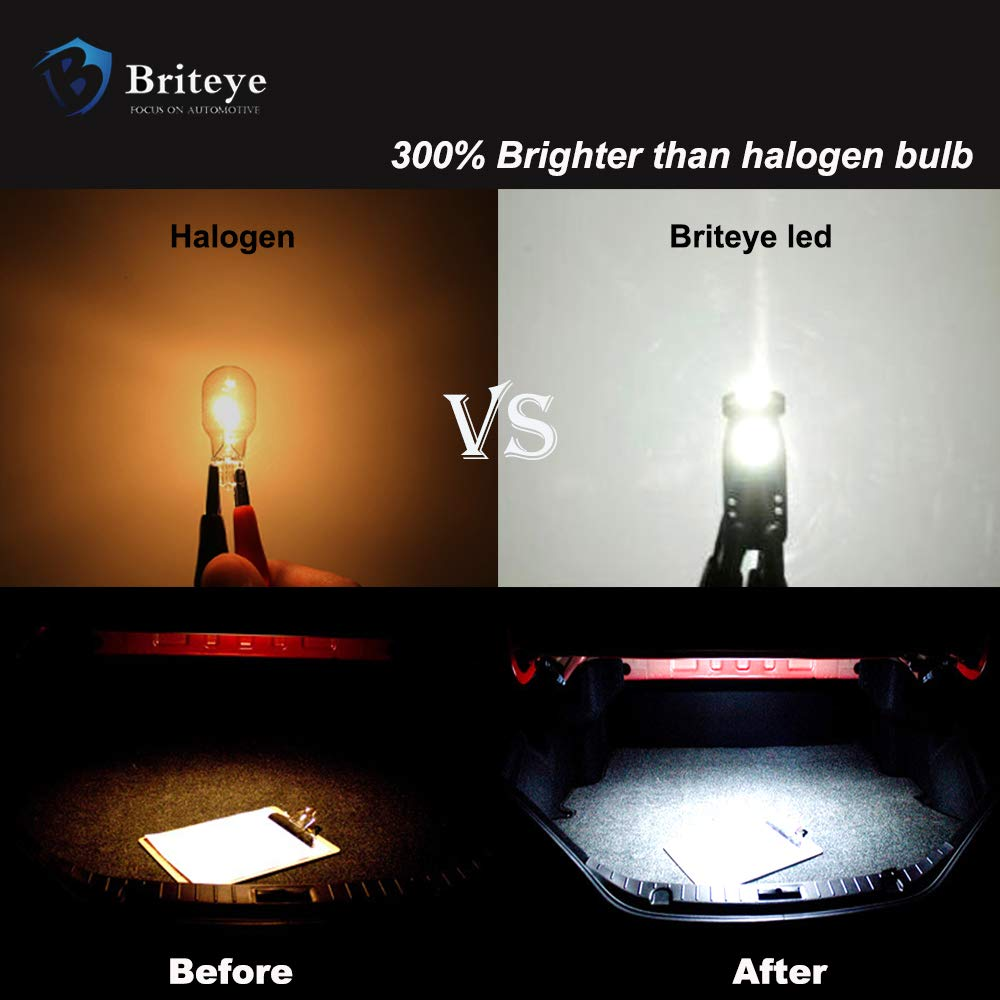/ 10 PCS Briteye 6000K White 194 LED Light Bulb Extremely Bright 168 175 2825 192 T10//W5W LED Replacement Bulb 3030SMD Erro Free for Car Interior Door courtesy Rear Market License Plate Light Bulbs