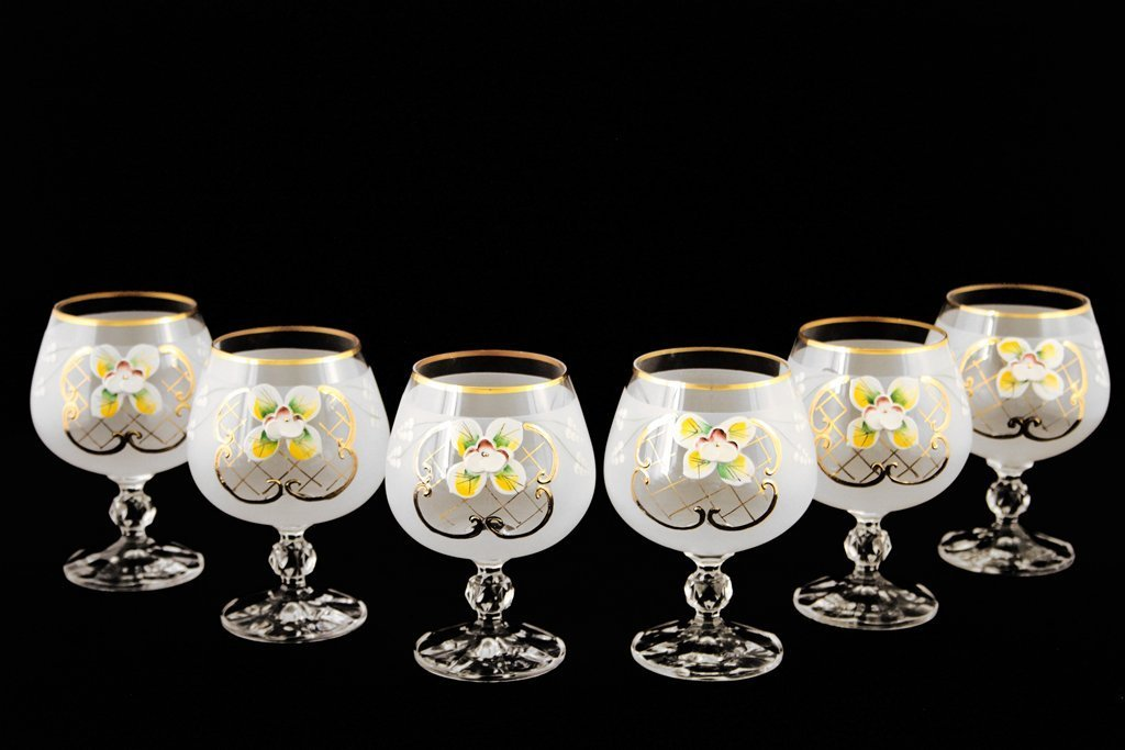 Crystalex 6pc Bohemia Colored Crystal Vintage Enamel White Cognac or Brandy Snifters Glasses Set, 24K Gold-Plated, Hand Made