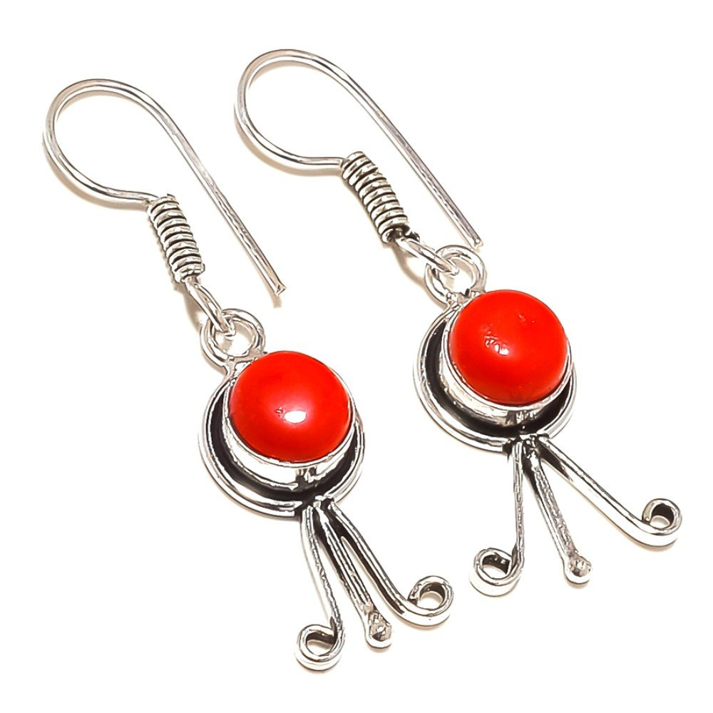 Brand New Red Coral Sterling Silver Overlay 5 Grams Earring 1.75 Long