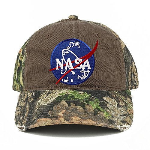 - NASA Insignia Meatball Embroidered Patch Mossy Oak Realtree Camo Adjustable Cap - Chocolate