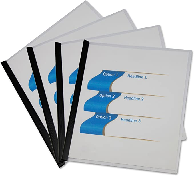 UNIVERSAL Plastic Report Cover w//Clip Letter Holds 30 Pages Clear//Black 5//PK