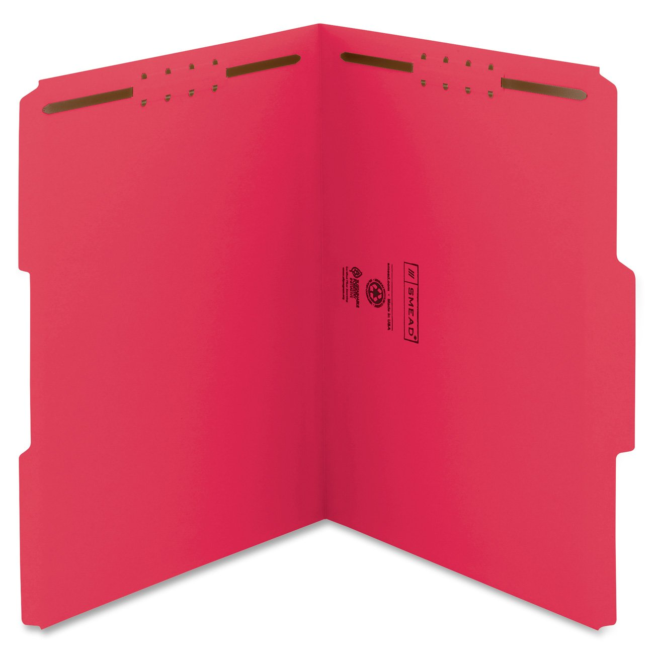 Smead Fastener File Folders, Letter Size, 1/3 Cut Reinforced Tab, Two Fasteners in Positions #1 and #3, Red 50 Per Box (12740)