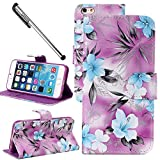 For Apple iPhone 6 Plus/ 6S Plus (5.5 inches), Urvoix(TM) Elegant Floral Flower Wallet Flip PU Leather Hard Case Cover - Stand Feature - Card Slots - Magnetic Closure (NOT for iPhone 6)