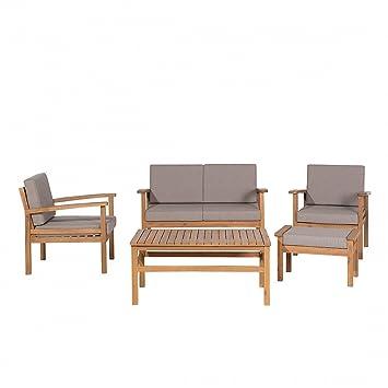 Set divano da esterno con tavolino in legno acacia - Salotto da ...