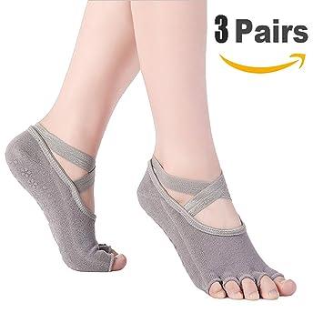 Goaeos Calcetines de Yoga Antideslizante para Mujeres, sin pies, Pilates, Barre, Ballet, Bikram Calcetines de Fitness con agarres Antideslizantes, ...