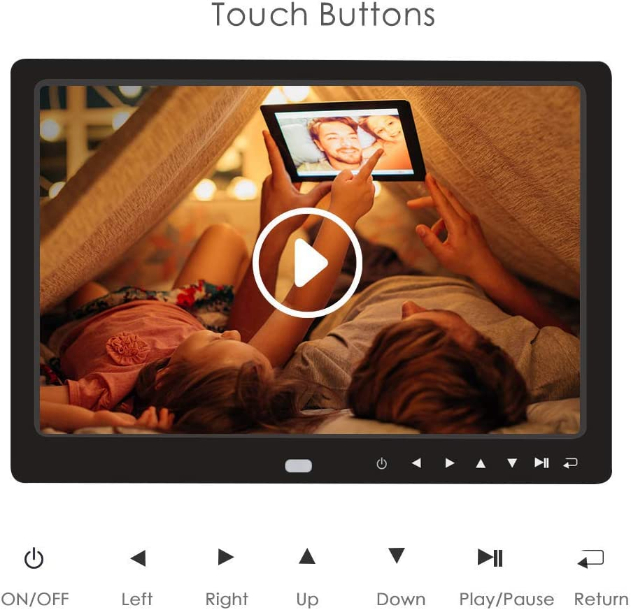 RONSHIN 12 Inch 1080P HD Digital Photo Frame with Remote Control Support 32G SD and USB for Pictures and Videos Black US Plug