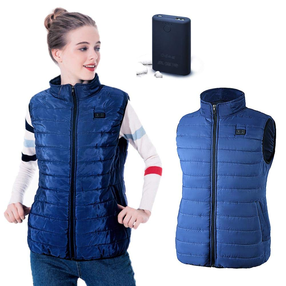 Winter Heated Warm Vest USB Security Intelligent Constant Temperature Heating Jacket Unisex Down Vest Waistcoat Gilet Equipment Cotton Thickening Jacket for Riding Skiing Camping Hiking weemoment
