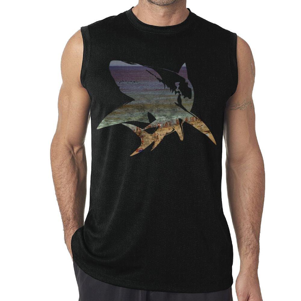 Sleeveless Tank Tops T-Shirts Fit Men Shark Image of The Beach