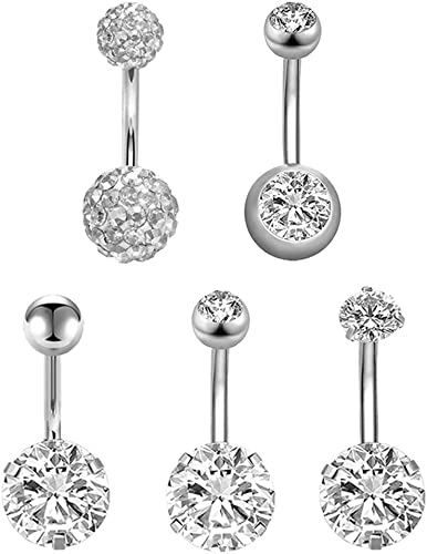 Navel Ring Surgical Steel Belly Bar Belly Piercing Jewelry with CZ Stone