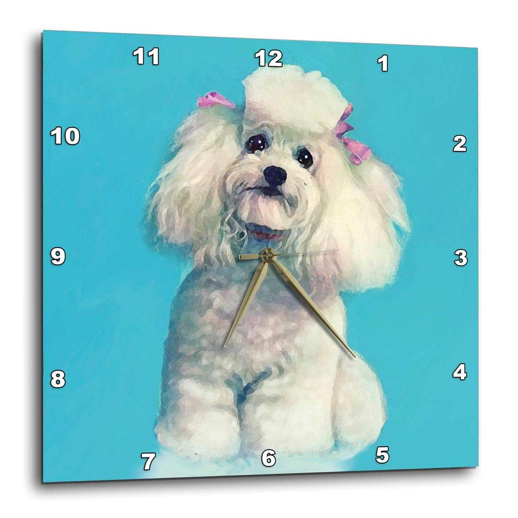 3dRose DPP_3539_1 White Topy Poodle-Wall Clock, 10 by 10'